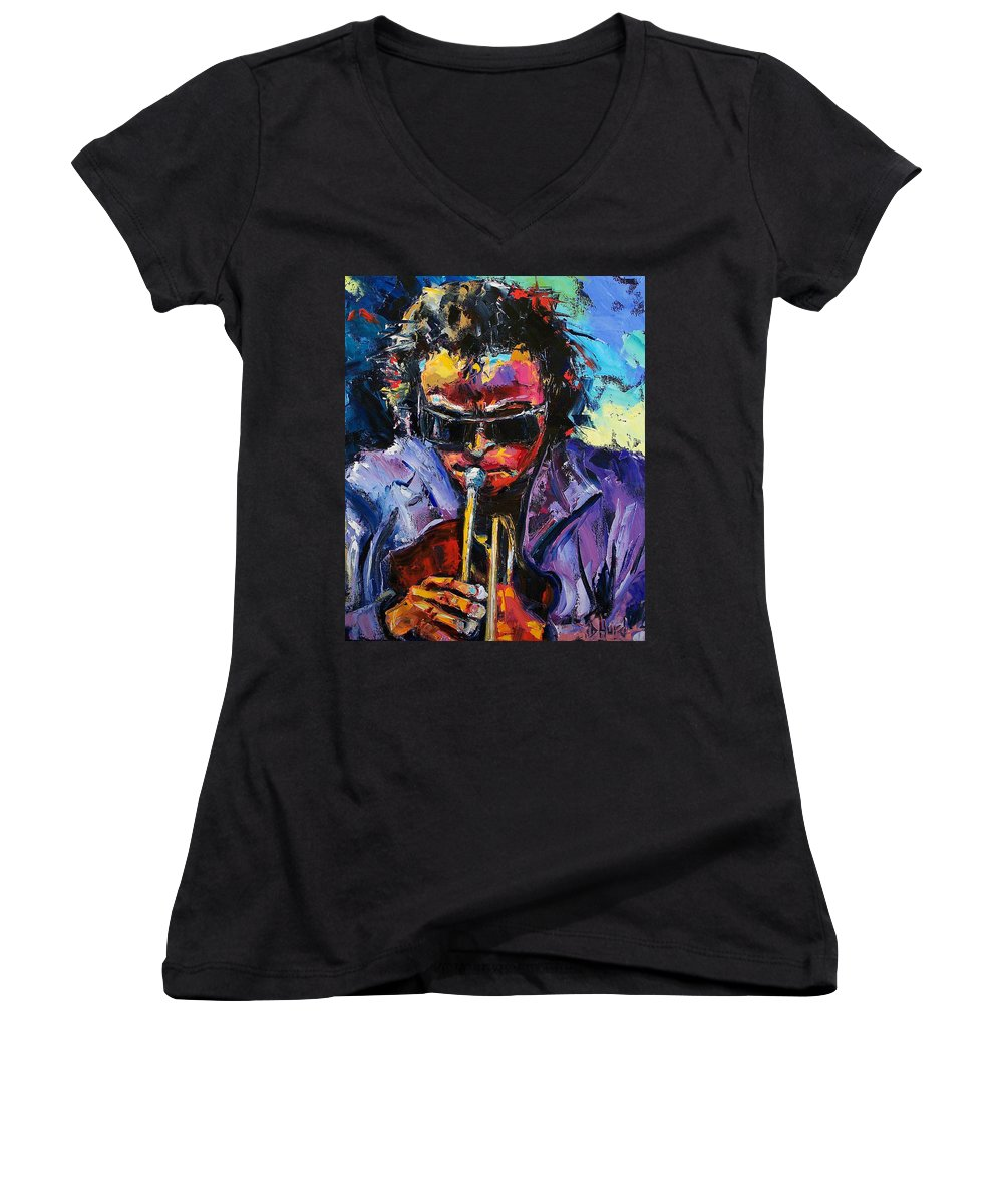 Miles Davis Women's V-Neck T-Shirt featuring the painting Miles Davis by Debra Hurd
