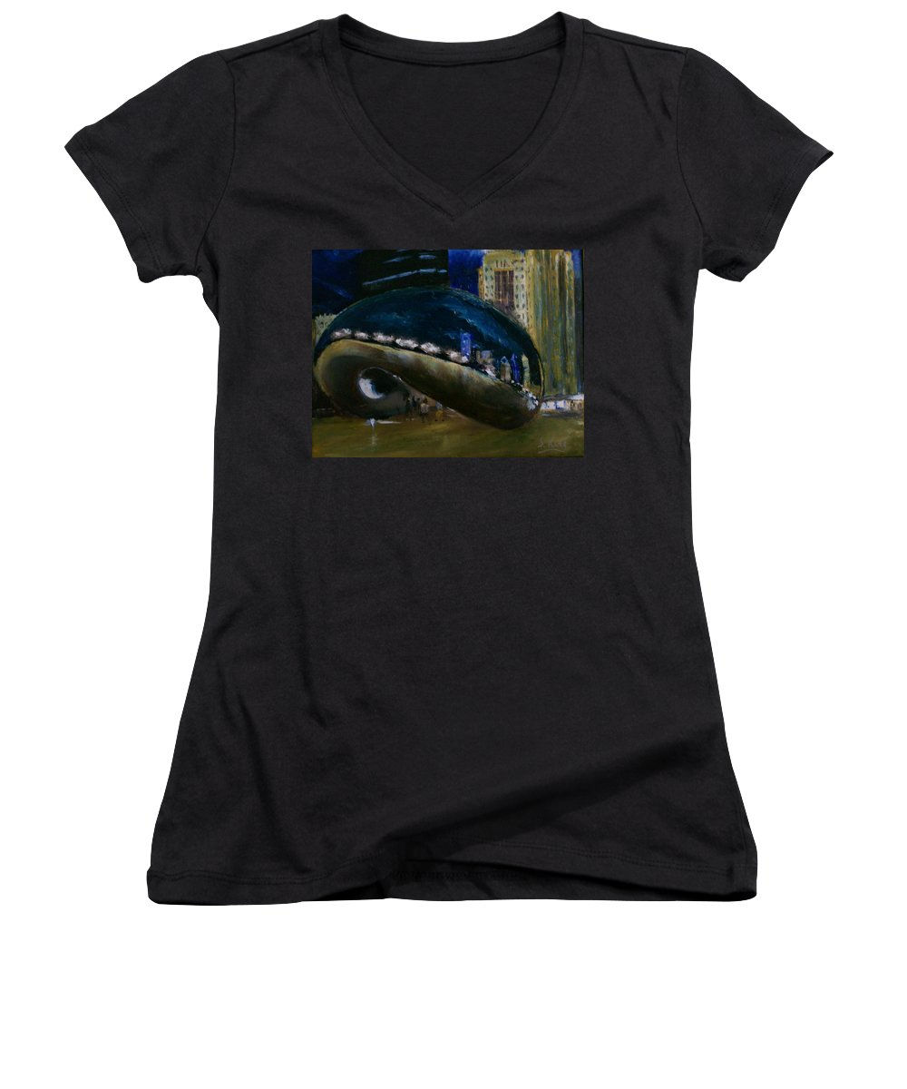 Cityscape Women's V-Neck (Athletic Fit) featuring the painting Millennium Park - Chicago by Stephen King