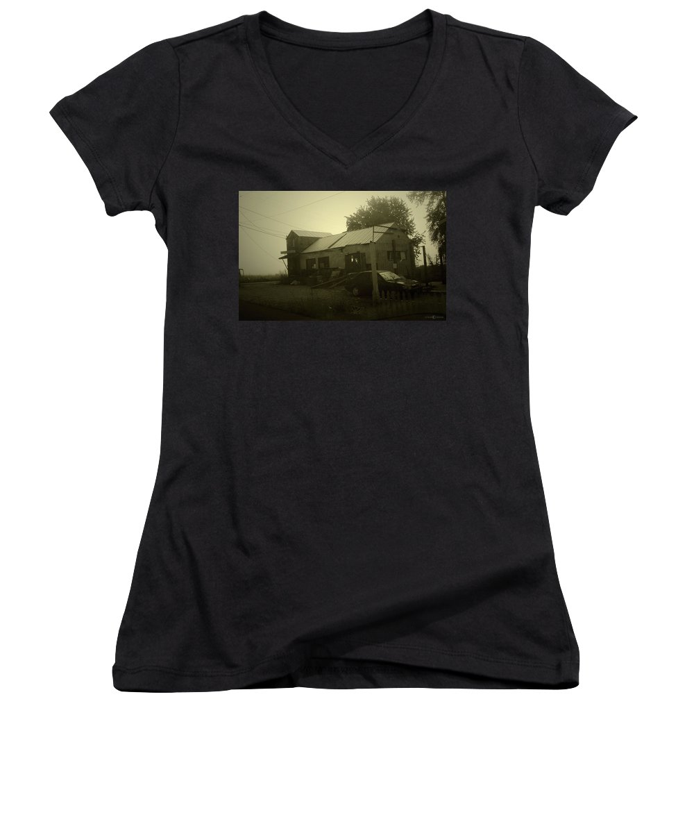 Milltown Women's V-Neck (Athletic Fit) featuring the photograph Milltown Merchantile by Tim Nyberg