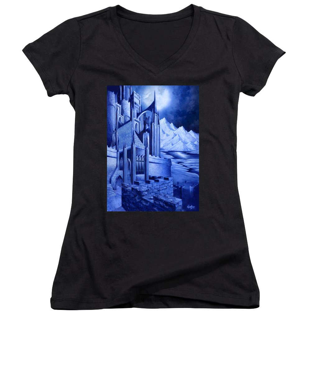 Lord Of The Rings Women's V-Neck T-Shirt featuring the mixed media Minas Tirith by Curtiss Shaffer