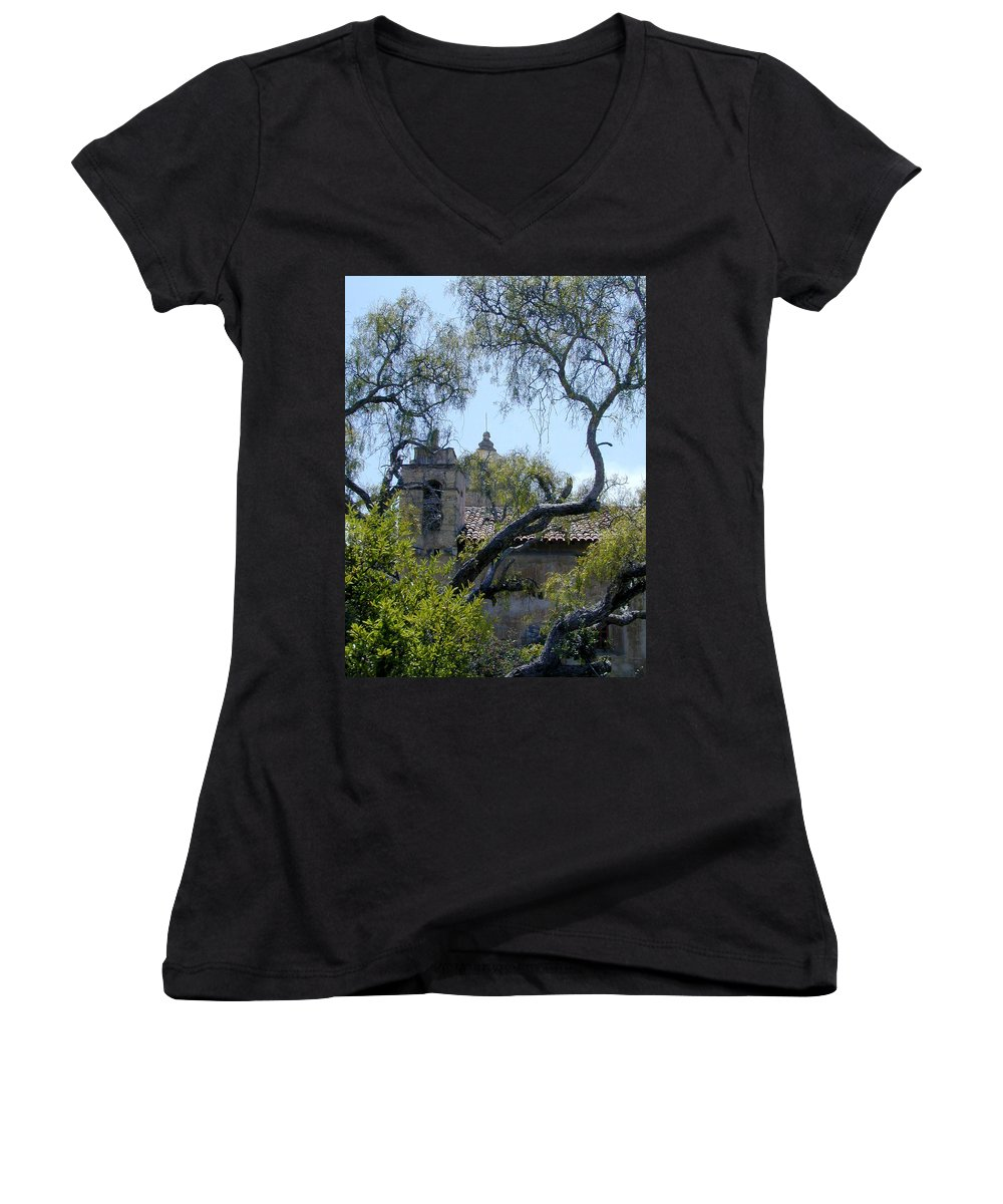 Mission Women's V-Neck T-Shirt featuring the photograph Mission At Carmell by Douglas Barnett