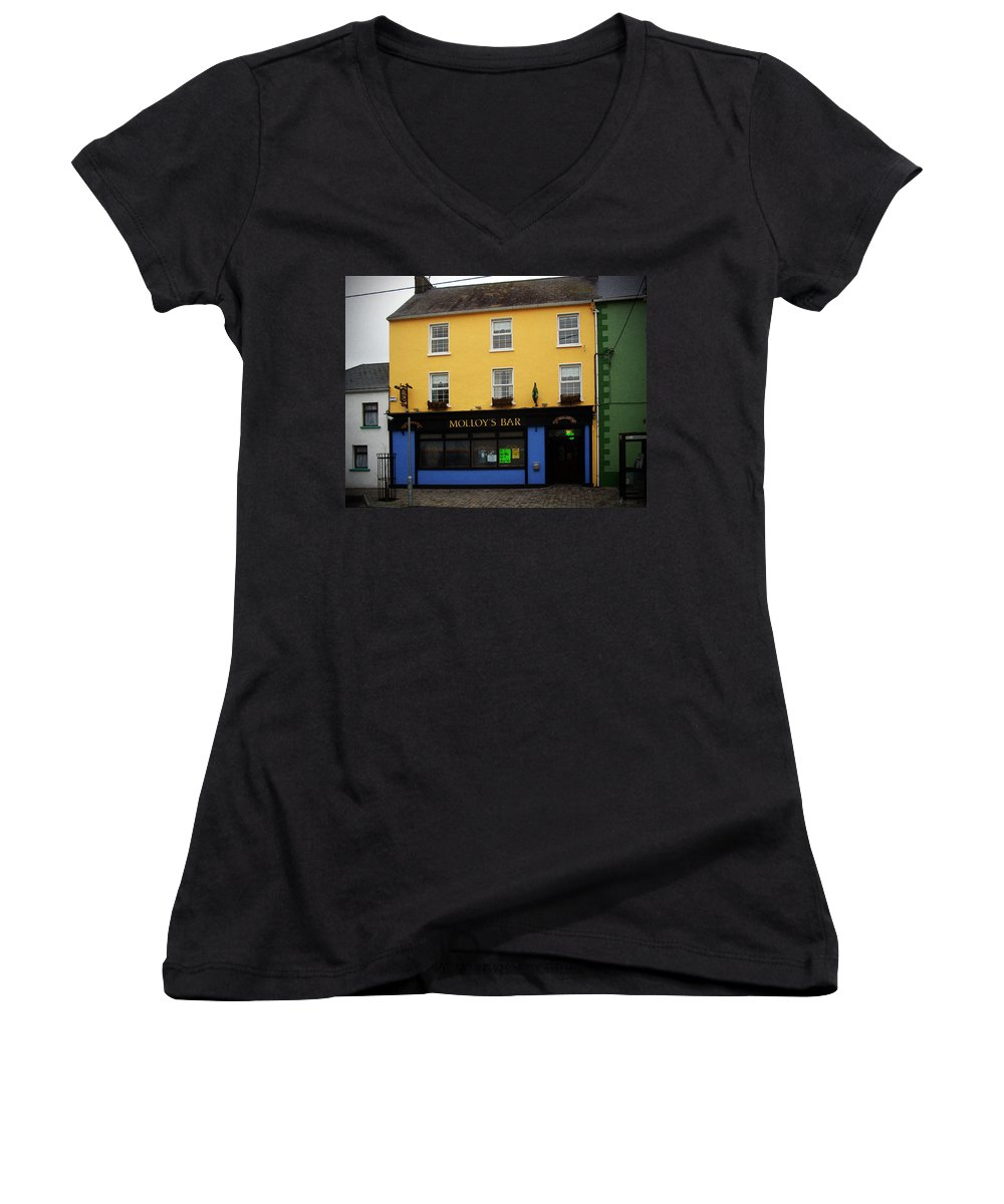 Pub Women's V-Neck T-Shirt featuring the photograph Molloy by Tim Nyberg
