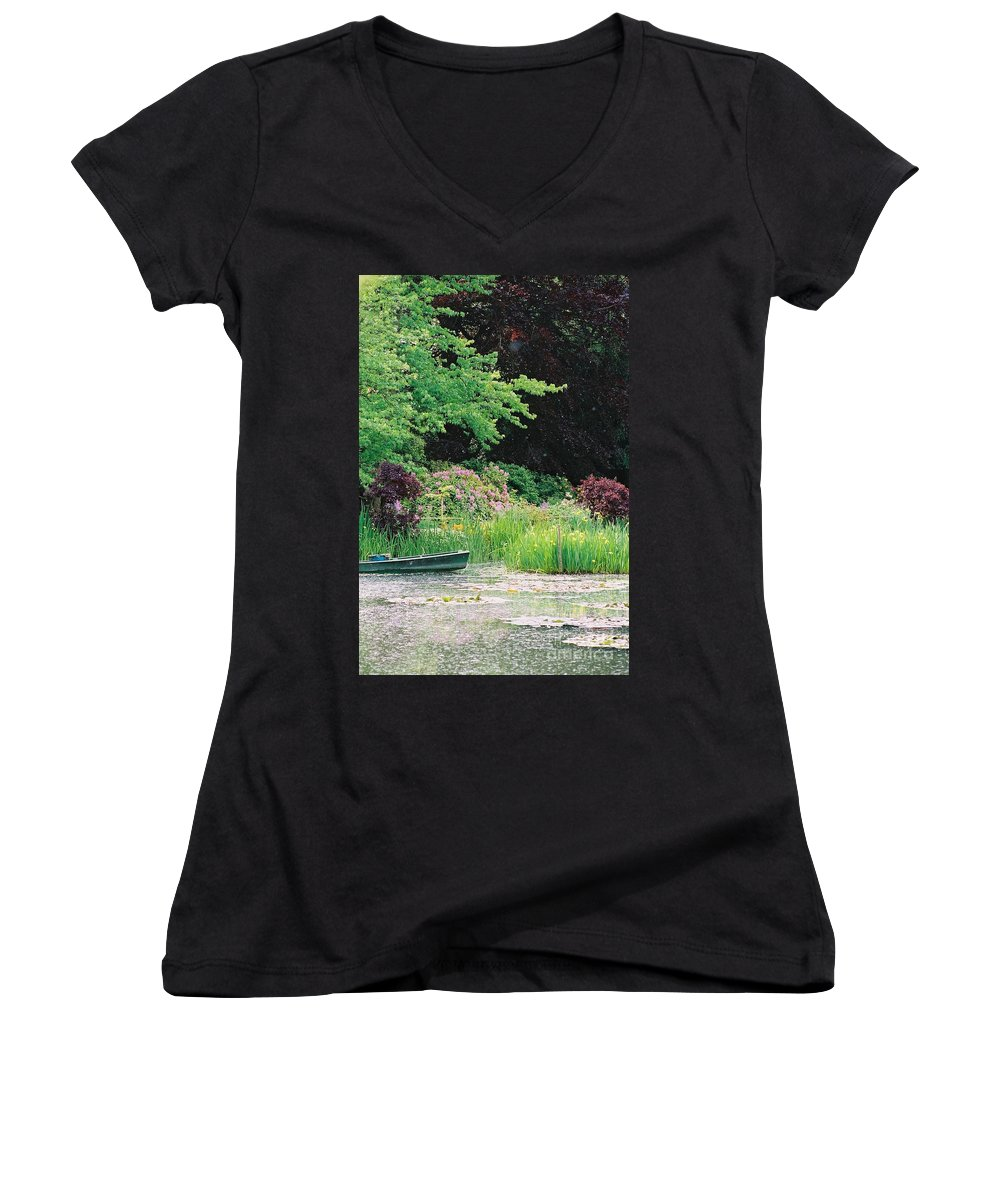 Monet Women's V-Neck (Athletic Fit) featuring the photograph Monet's Garden Pond And Boat by Nadine Rippelmeyer