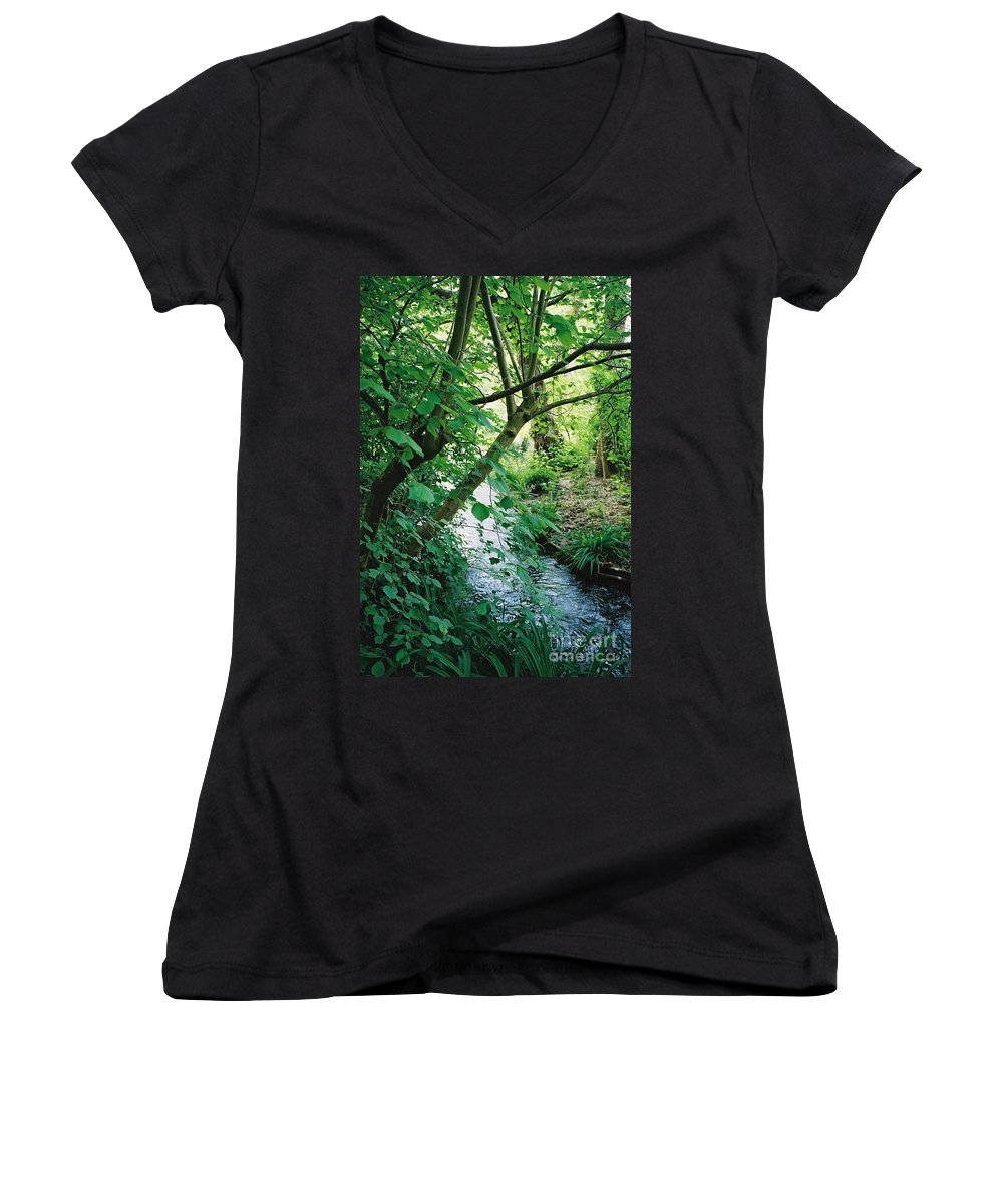 Photography Women's V-Neck T-Shirt featuring the photograph Monet's Garden Stream by Nadine Rippelmeyer