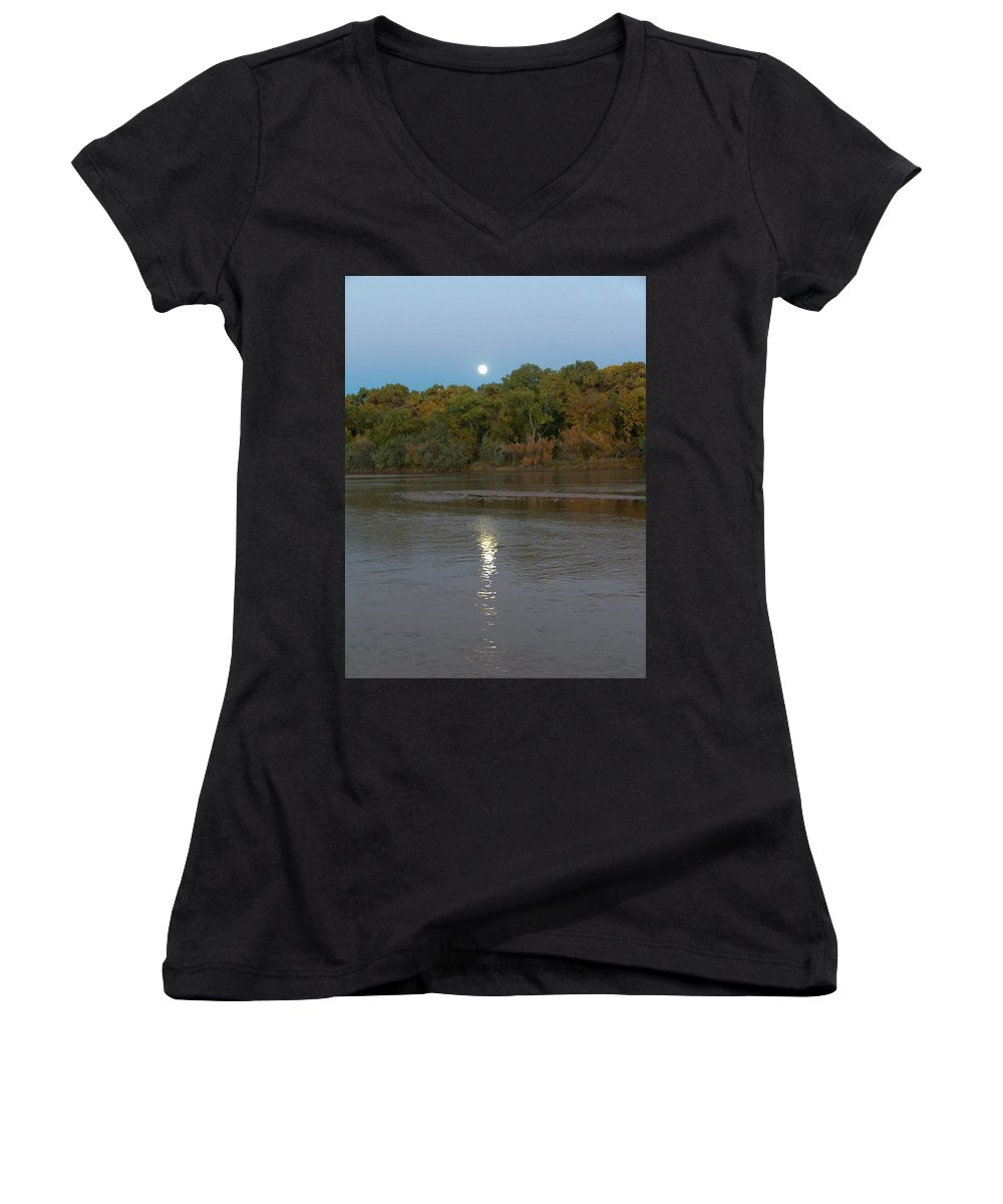Moonlight Women's V-Neck (Athletic Fit) featuring the photograph Moonlight On The Rio Grande by Tim McCarthy