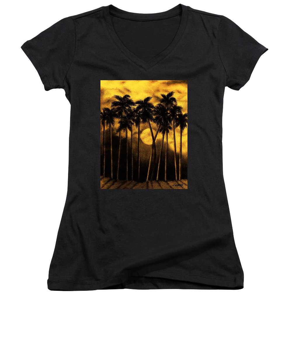 Moonlit Palm Trees In Yellow Women's V-Neck (Athletic Fit) featuring the mixed media Moonlit Palm Trees In Yellow by Larry Lehman