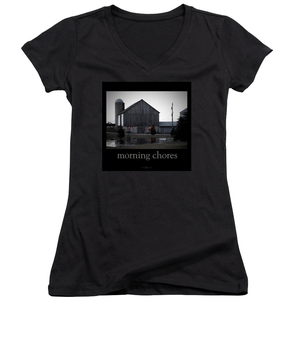 Poster Women's V-Neck T-Shirt featuring the photograph Morning Chores by Tim Nyberg