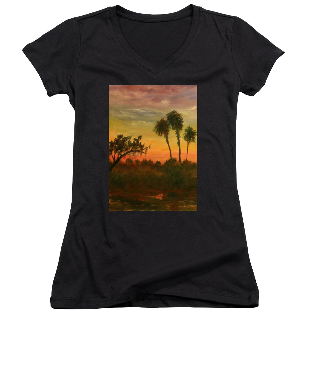 Palm Trees; Tropical; Marsh; Sunrise Women's V-Neck T-Shirt featuring the painting Morning Fog by Ben Kiger