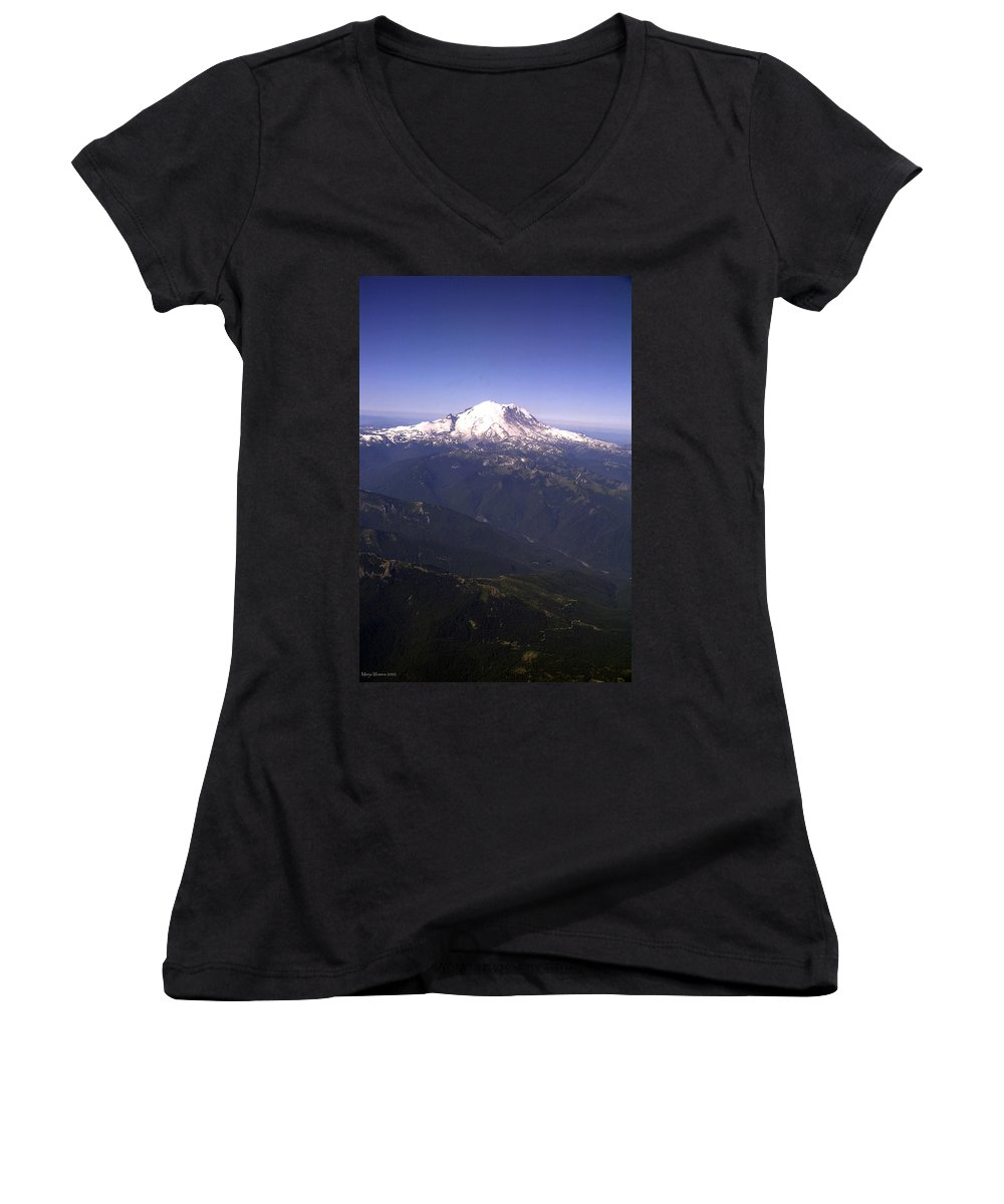 Mount Rainier Women's V-Neck T-Shirt featuring the photograph Mount Rainier Washington State by Merja Waters