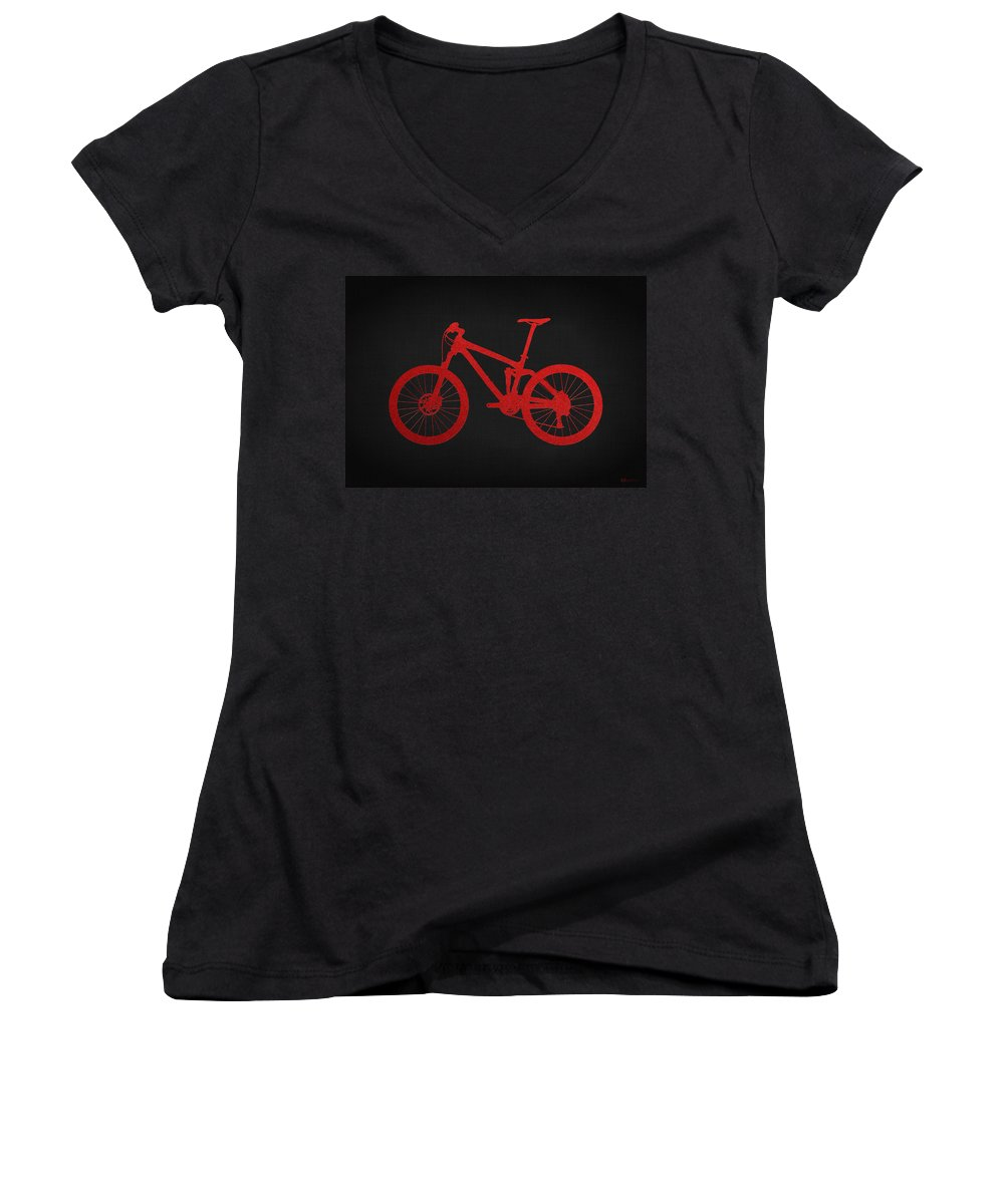 'two-wheel Drive' Fine Art Collection By Serge Averbukh Women's V-Neck featuring the photograph Mountain Bike - Red On Black by Serge Averbukh