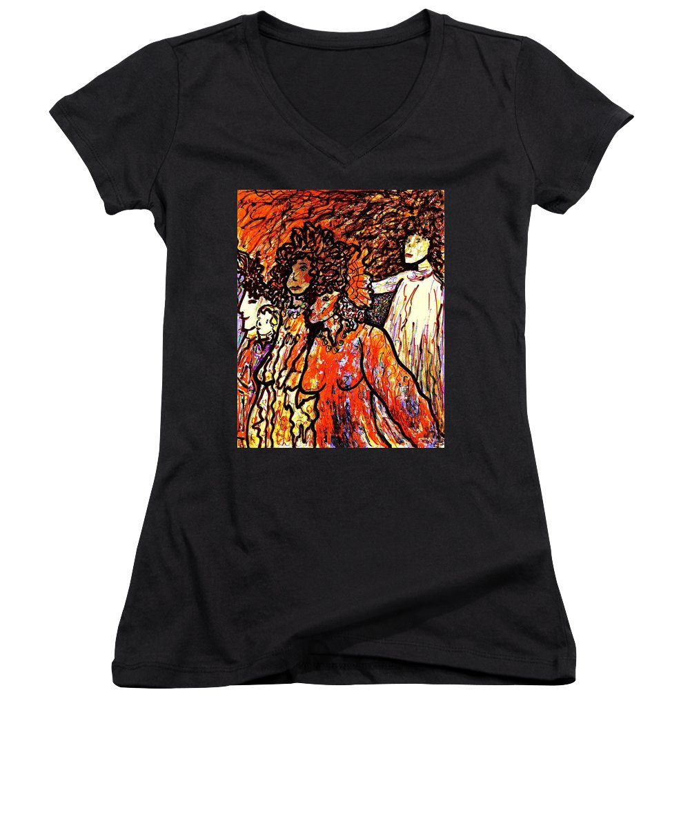 Figurative Art Women's V-Neck (Athletic Fit) featuring the painting Musical Recital by Natalie Holland