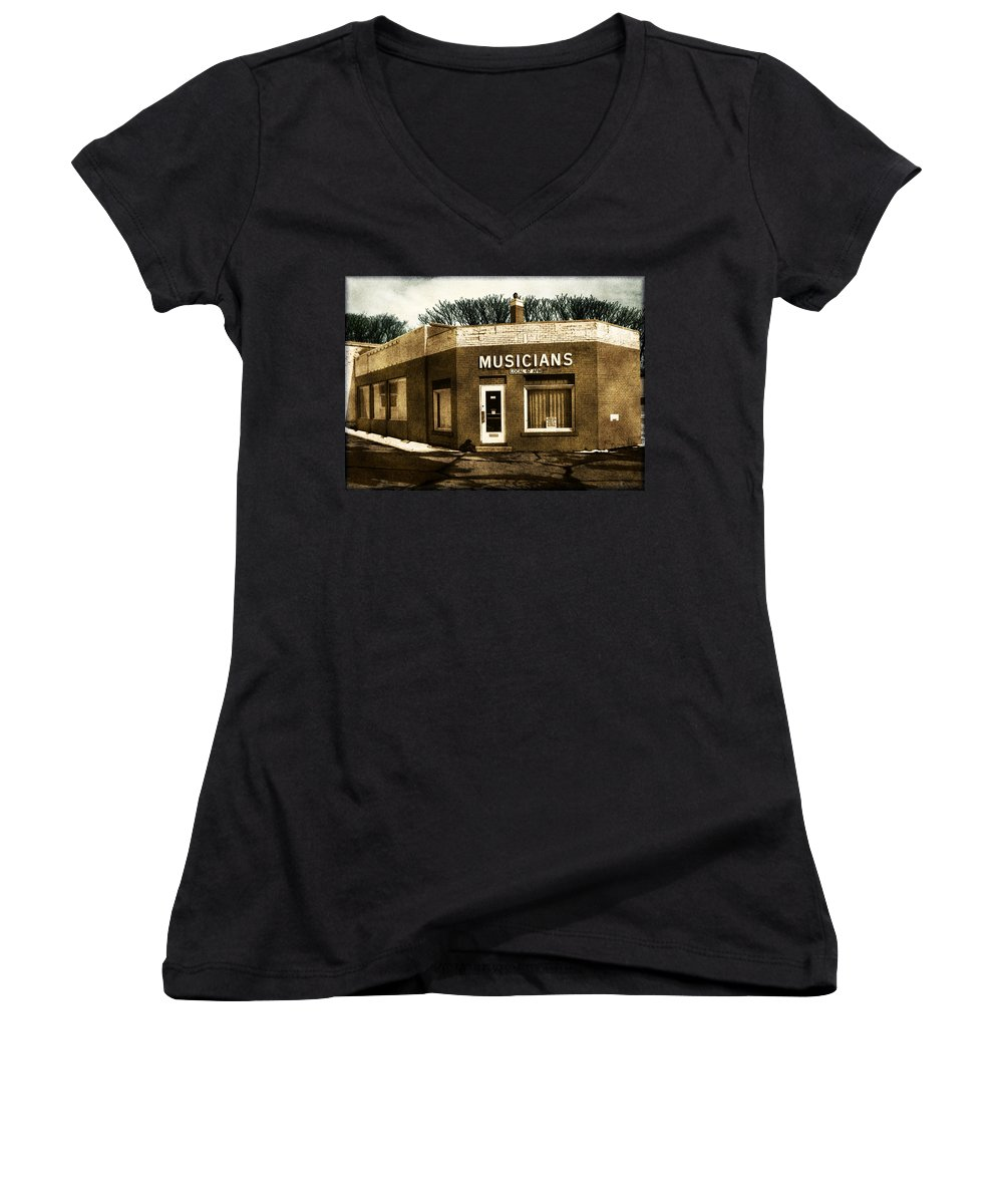 1950s Women's V-Neck T-Shirt featuring the photograph Musicians Local 67 by Tim Nyberg