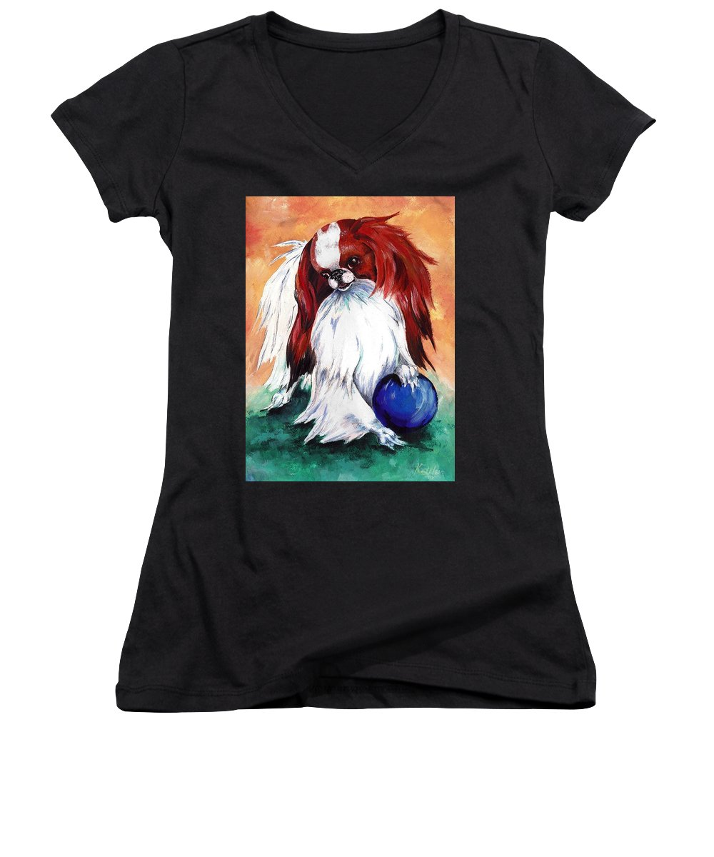 Japanese Chin Women's V-Neck (Athletic Fit) featuring the painting My Ball by Kathleen Sepulveda