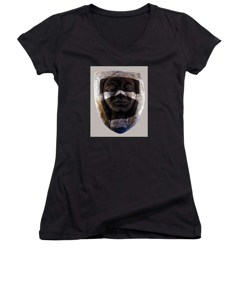 Ceramic Women's V-Neck (Athletic Fit) featuring the relief My Veils I by Madalena Lobao-Tello