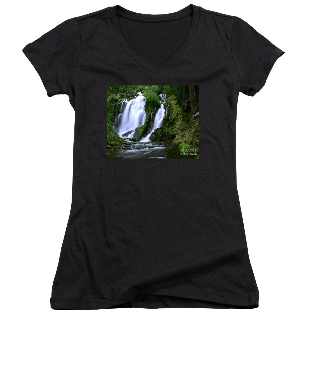 Waterfall Women's V-Neck (Athletic Fit) featuring the photograph National Creek Falls 02 by Peter Piatt