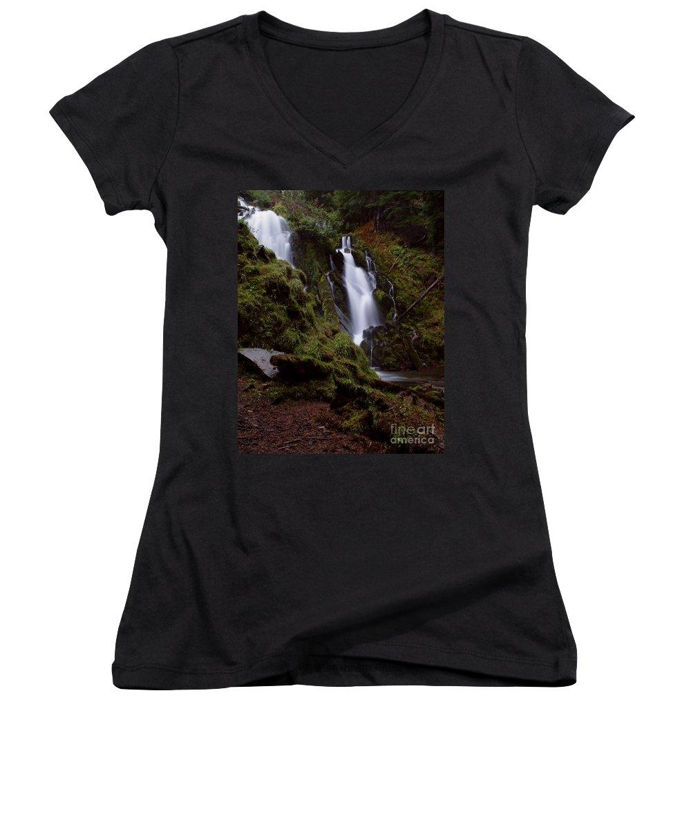 Waterfall Women's V-Neck T-Shirt featuring the photograph National Creek Falls 04 by Peter Piatt