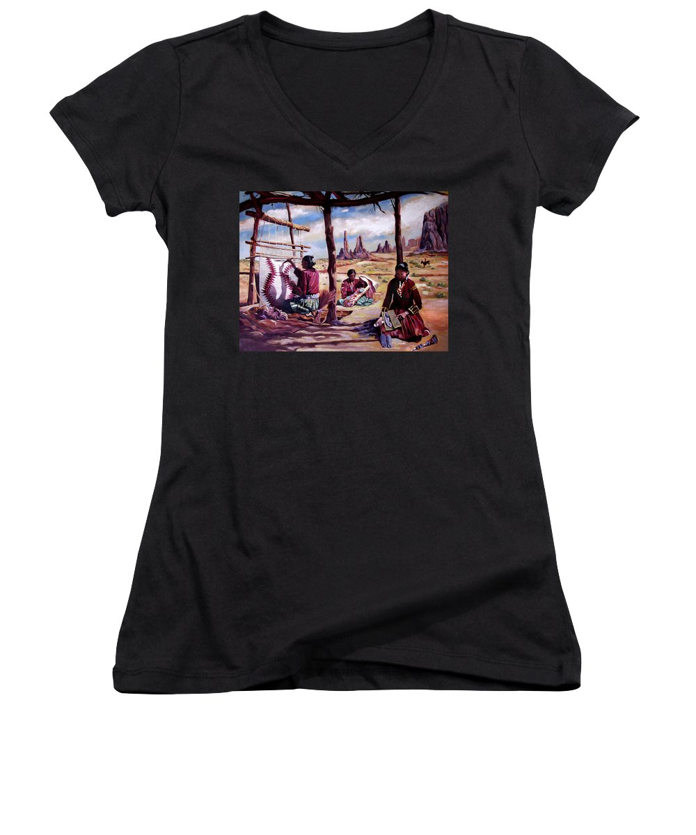 Native American Women's V-Neck (Athletic Fit) featuring the painting Navajo Weavers by Nancy Griswold