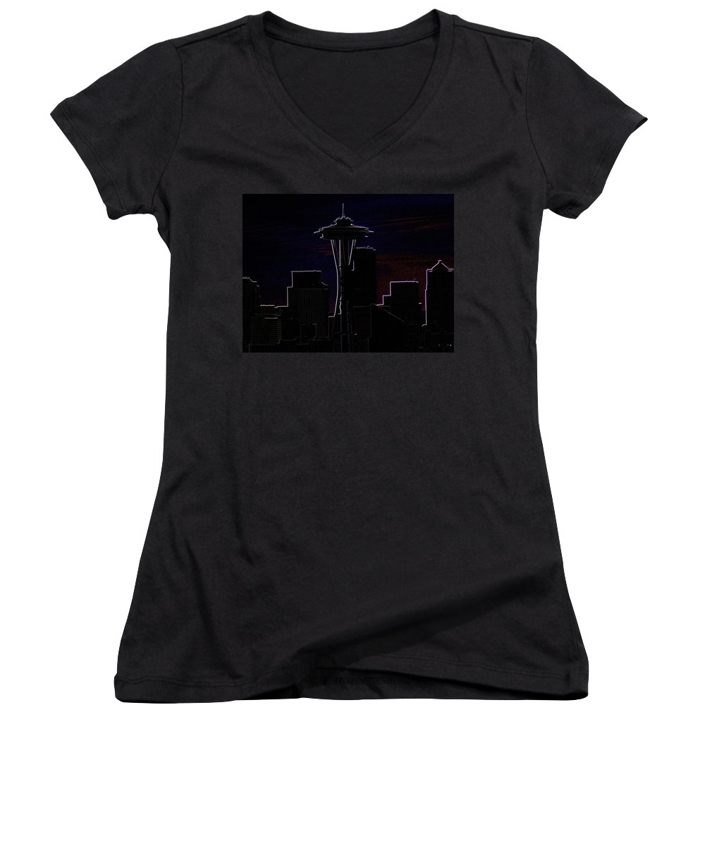 Seattle Women's V-Neck T-Shirt featuring the photograph Needle From Kerry Park 2 by Tim Allen