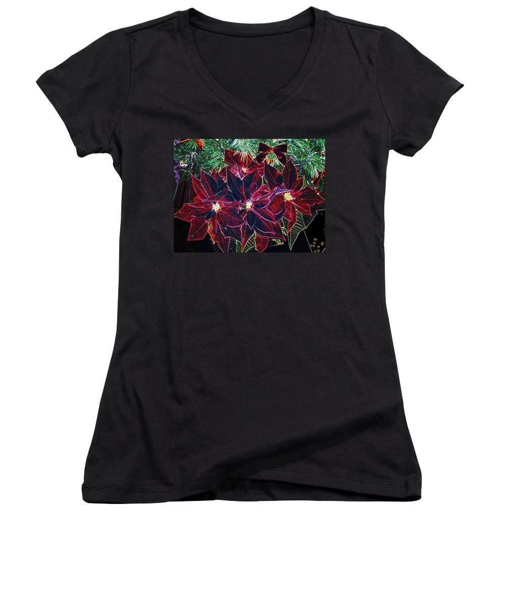 Flowers Women's V-Neck T-Shirt featuring the photograph Neon Poinsettias by Nancy Mueller