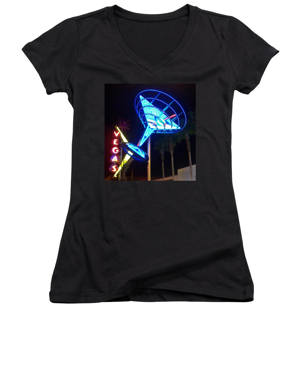 Vegas Women's V-Neck T-Shirt featuring the photograph Neon Signs 1 by Anita Burgermeister