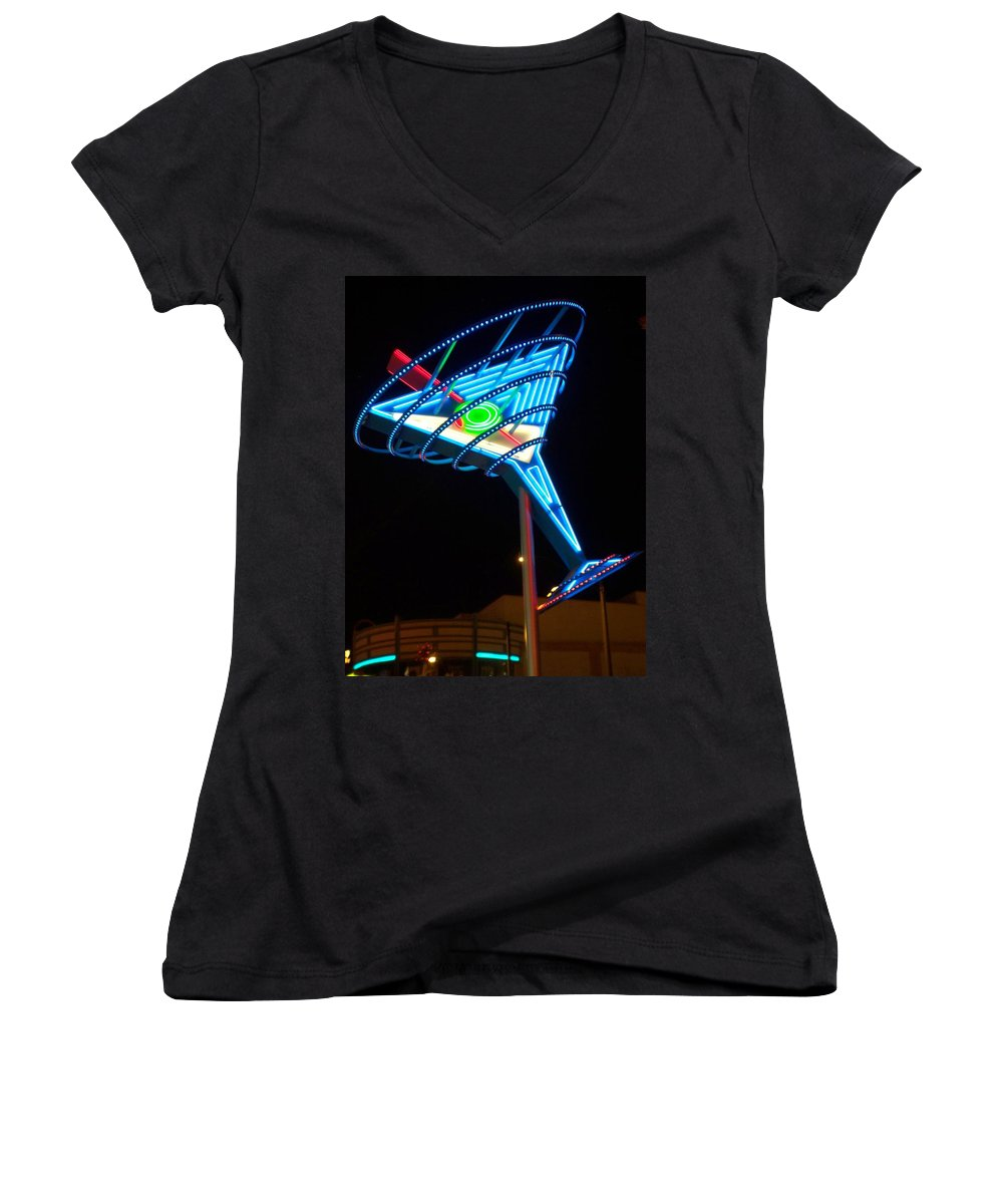 Fremont East Women's V-Neck (Athletic Fit) featuring the photograph Neon Signs 4 by Anita Burgermeister