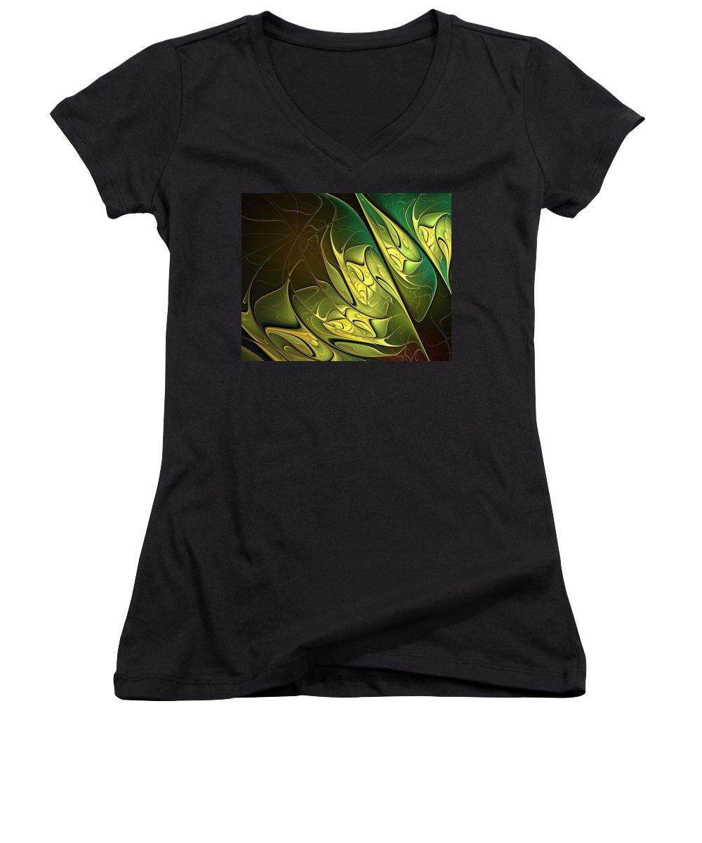 Digital Art Women's V-Neck T-Shirt featuring the digital art New Leaves by Amanda Moore