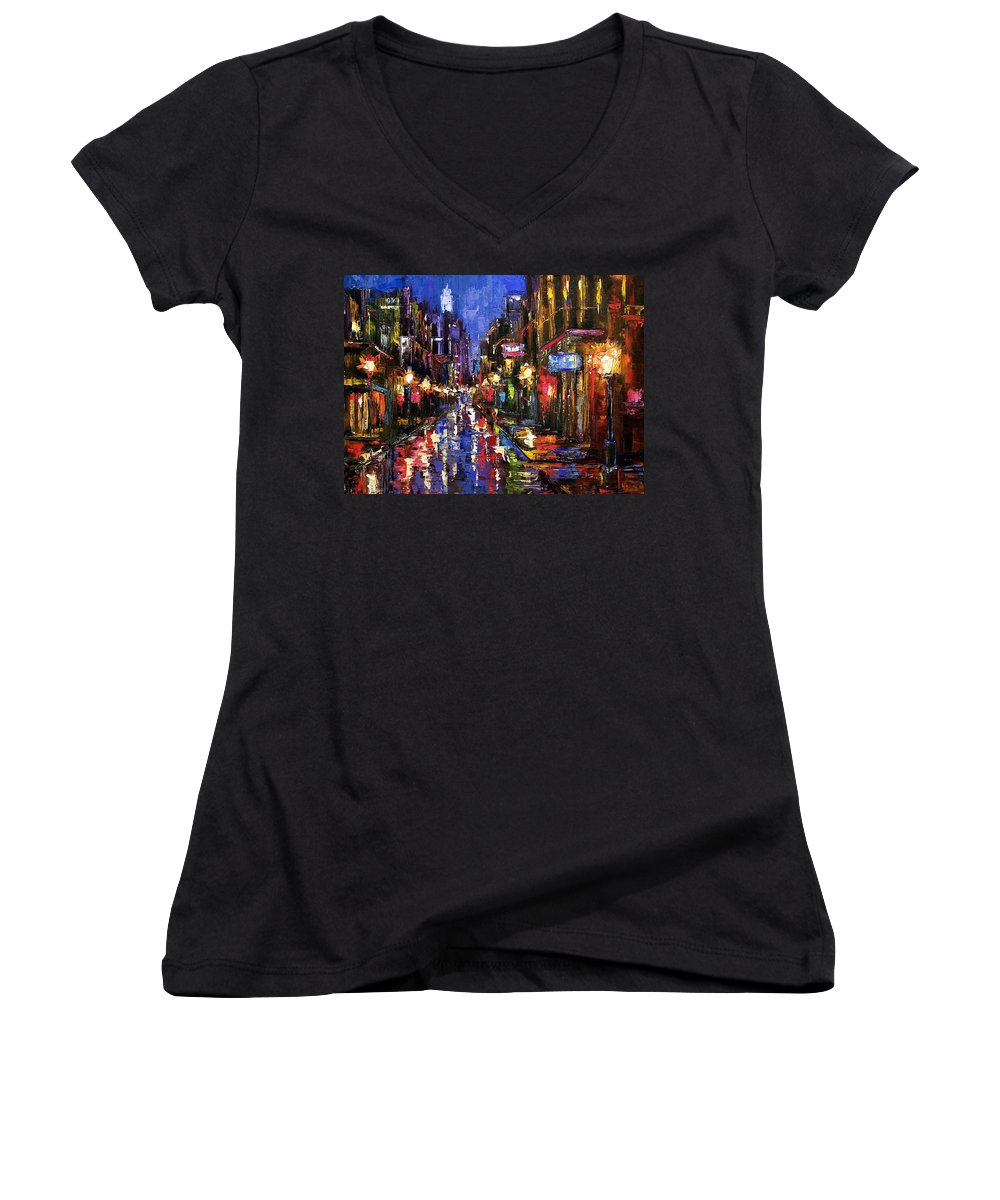 Cityscape Women's V-Neck (Athletic Fit) featuring the painting New Orleans Storm by Debra Hurd