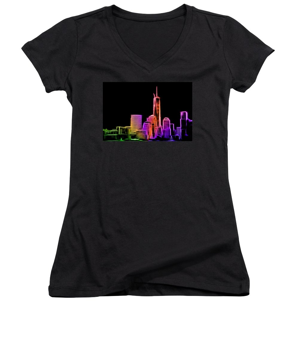 New York Women's V-Neck T-Shirt (Junior Cut) featuring the photograph New York Skyline by Aaron Berg