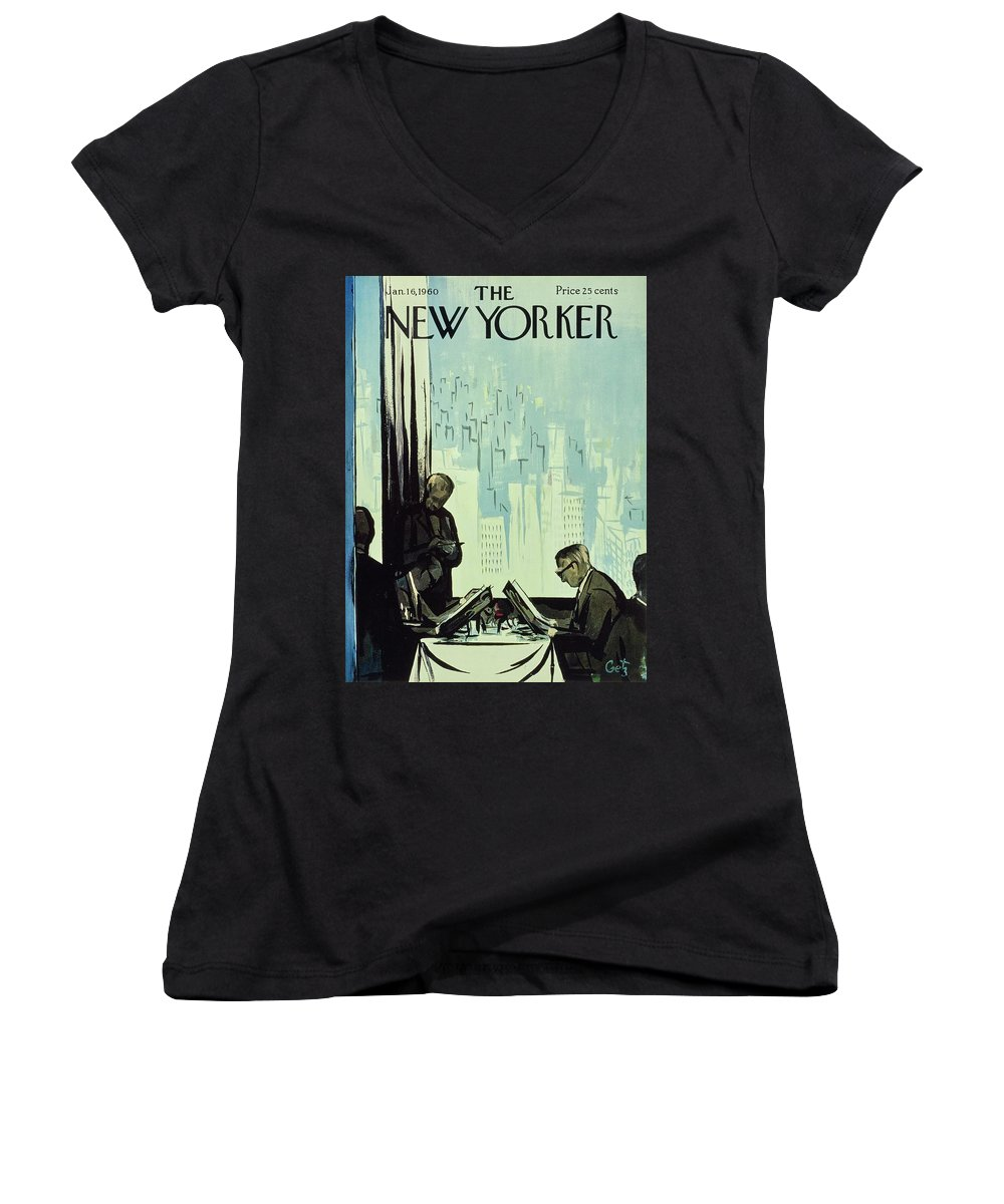 Illustration Women's V-Neck featuring the painting New Yorker January 16 1960 by Arthur Getz