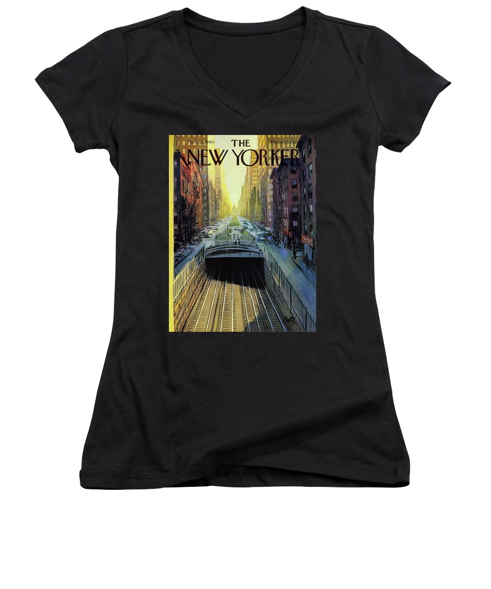 Illustration Women's V-Neck featuring the painting New Yorker November 12 1960 by Arthur Getz