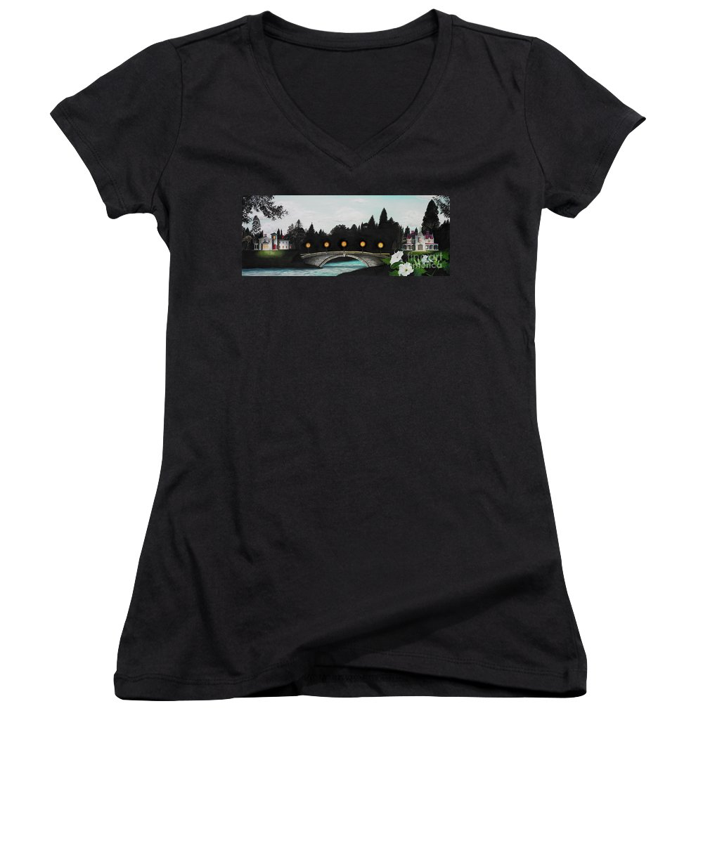 Architecture Women's V-Neck (Athletic Fit) featuring the painting Night Bridge by Melissa A Benson