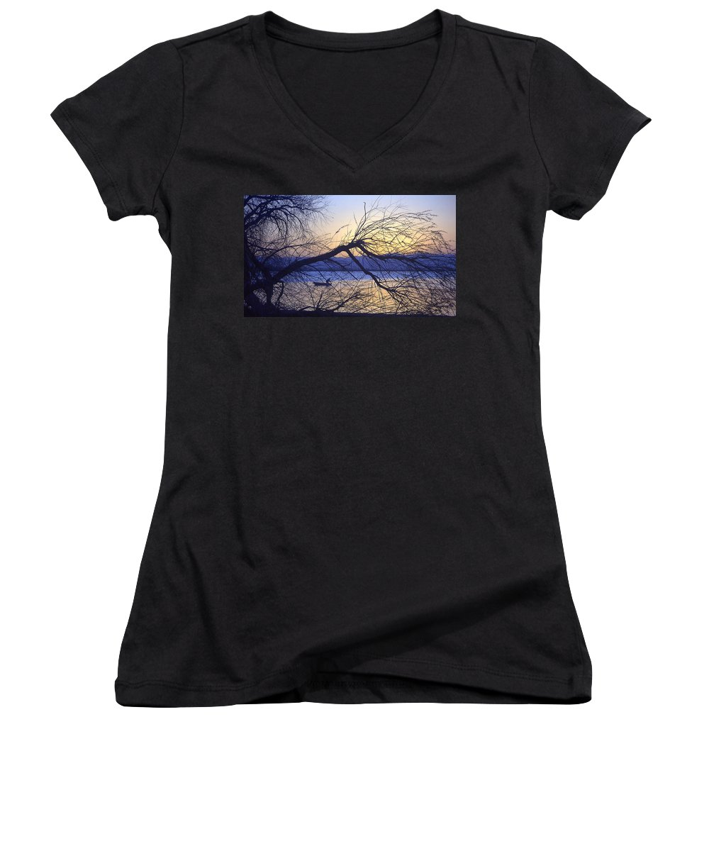 Barr Lake Women's V-Neck (Athletic Fit) featuring the photograph Night Fishing In Barr Lake Colorado by Merja Waters