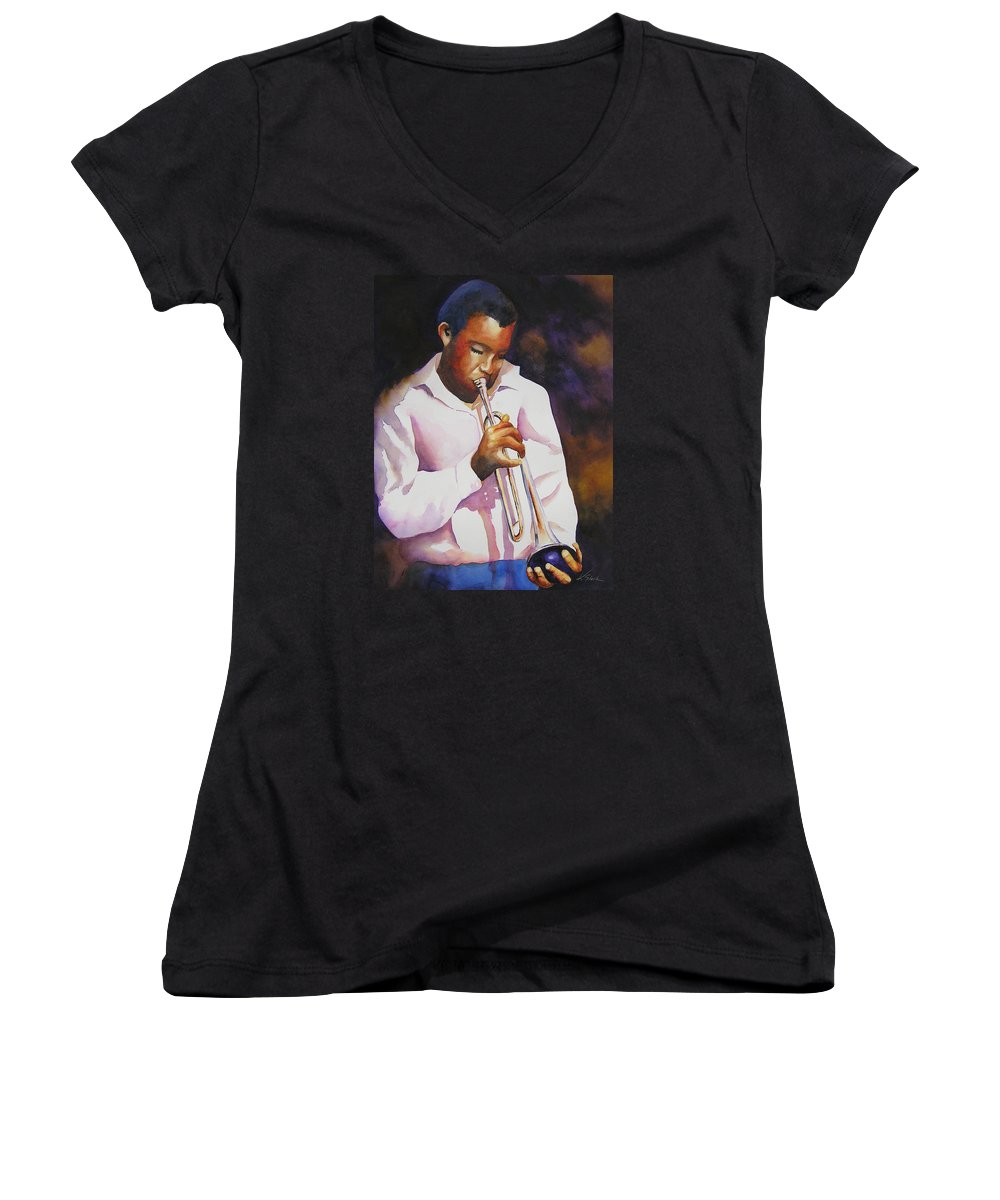 Trumpet Women's V-Neck (Athletic Fit) featuring the painting Night Music by Karen Stark