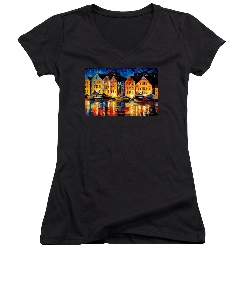 City Women's V-Neck T-Shirt featuring the painting Night Resting Original Oil Painting by Leonid Afremov