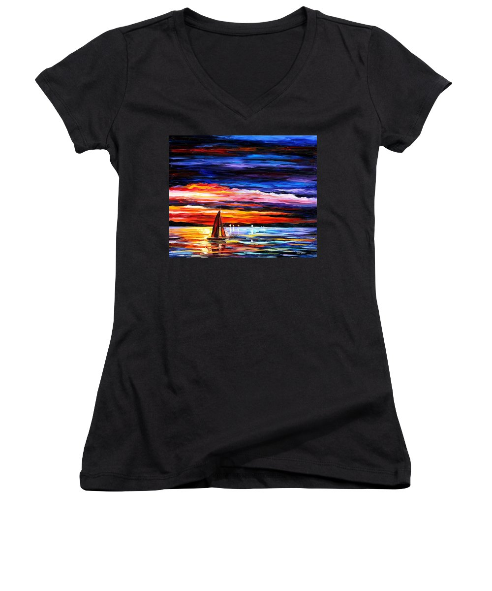 Seascape Women's V-Neck T-Shirt featuring the painting Night Sea by Leonid Afremov