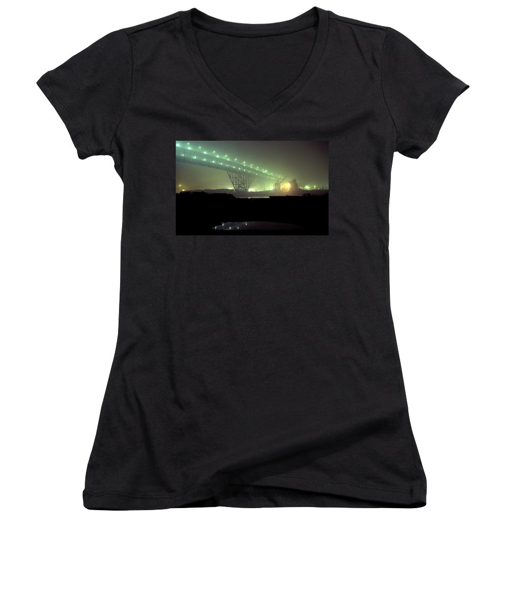 Night Photo Women's V-Neck T-Shirt featuring the photograph Nightscape 3 by Lee Santa