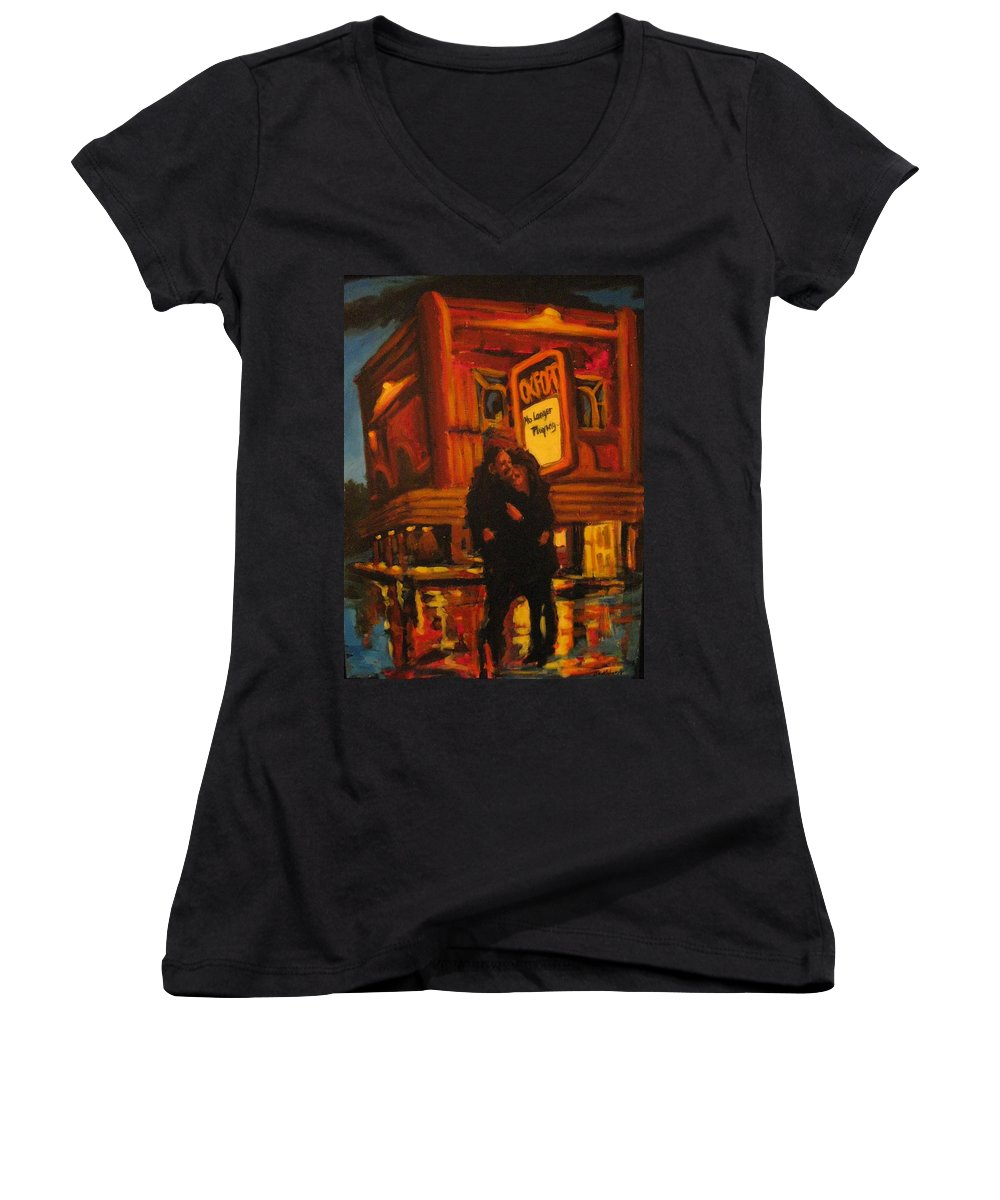 Wet Streets Women's V-Neck T-Shirt featuring the painting No Longer Playing by John Malone