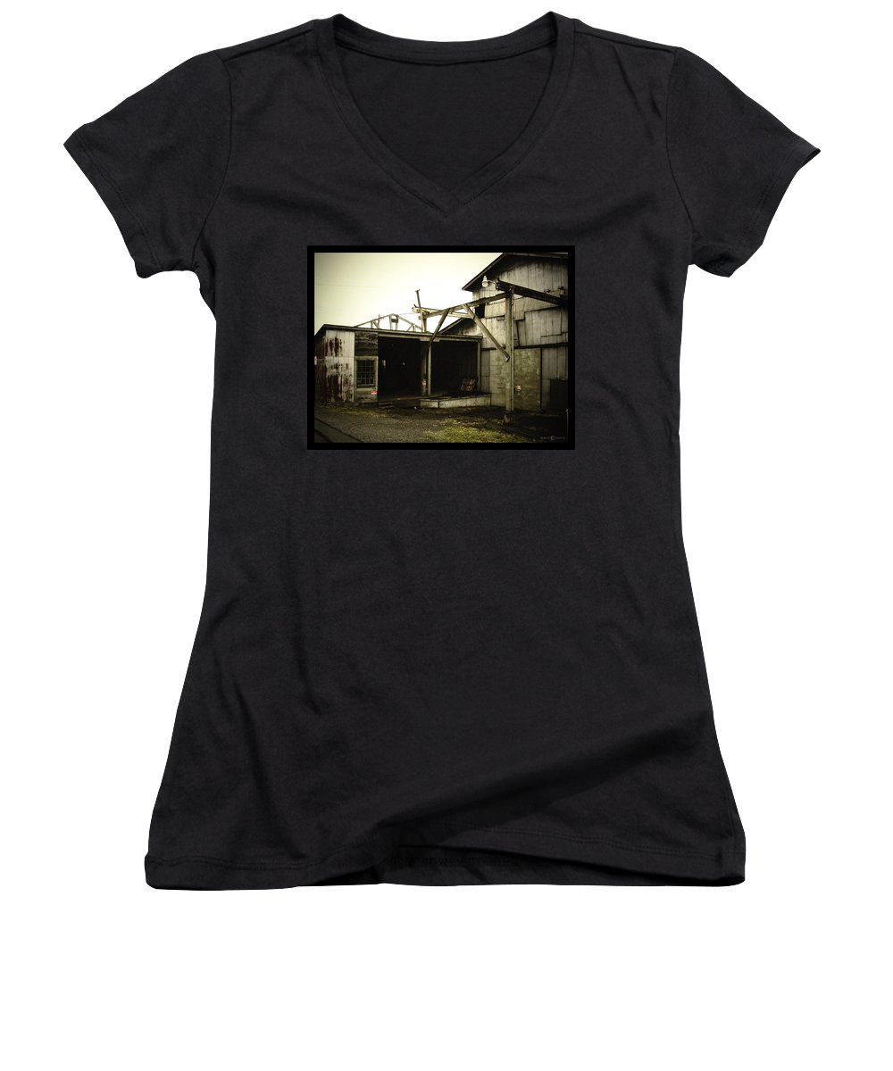 Warehouse Women's V-Neck T-Shirt featuring the photograph No Trespassing by Tim Nyberg
