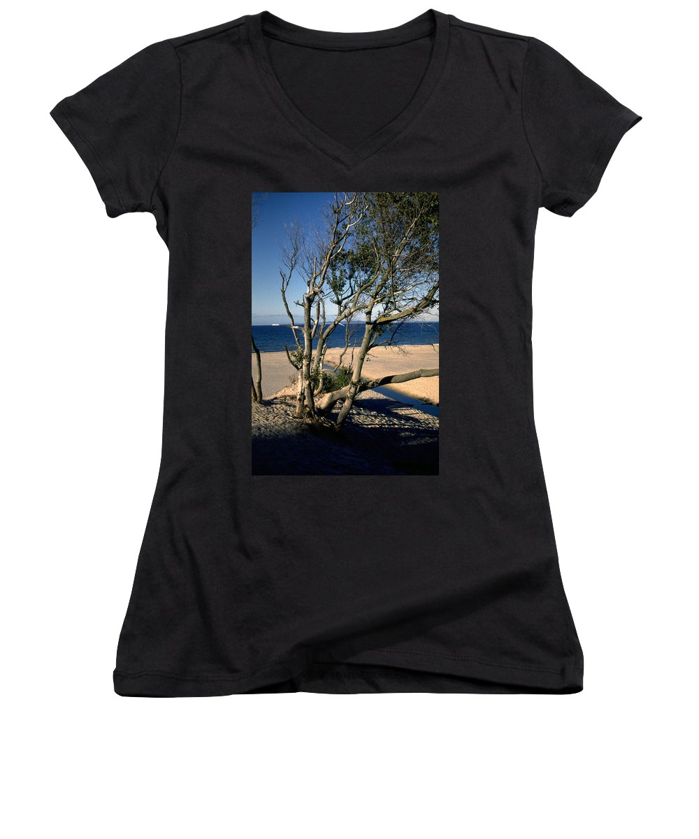 Denmark Women's V-Neck T-Shirt featuring the photograph Nordic Beach by Flavia Westerwelle