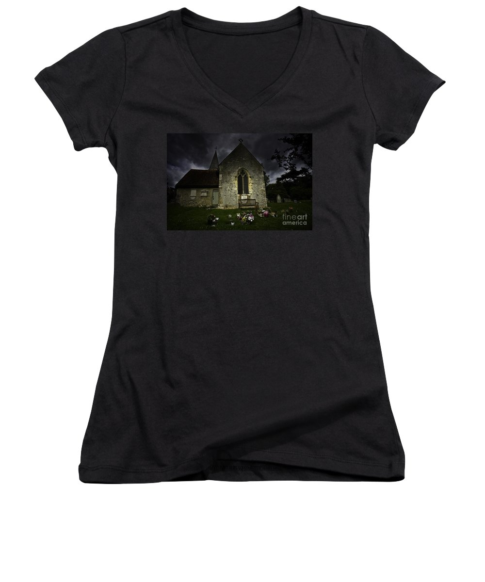 Church Women's V-Neck T-Shirt featuring the photograph Norman Church At Lissing Hampshire England by Avalon Fine Art Photography