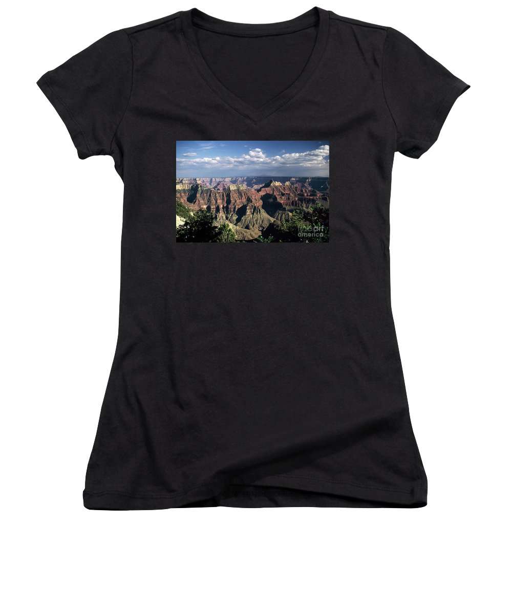 Grand Canyon; National Parks Women's V-Neck T-Shirt featuring the photograph North Rim by Kathy McClure