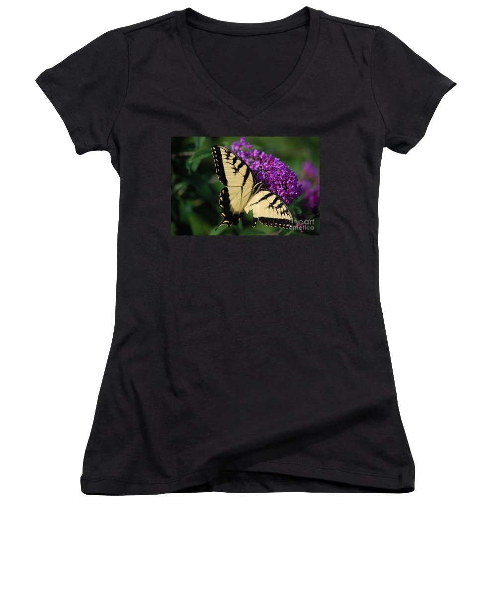 Butterfly Women's V-Neck T-Shirt featuring the photograph Nothing Is Perfect by Debbi Granruth