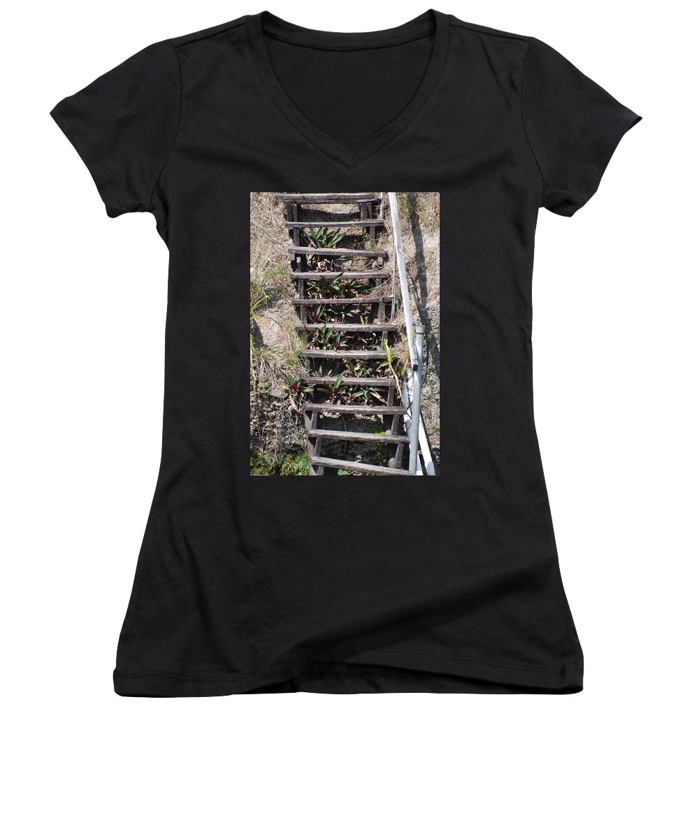 Stairs Women's V-Neck T-Shirt featuring the photograph Nowhere Stairs by Rob Hans