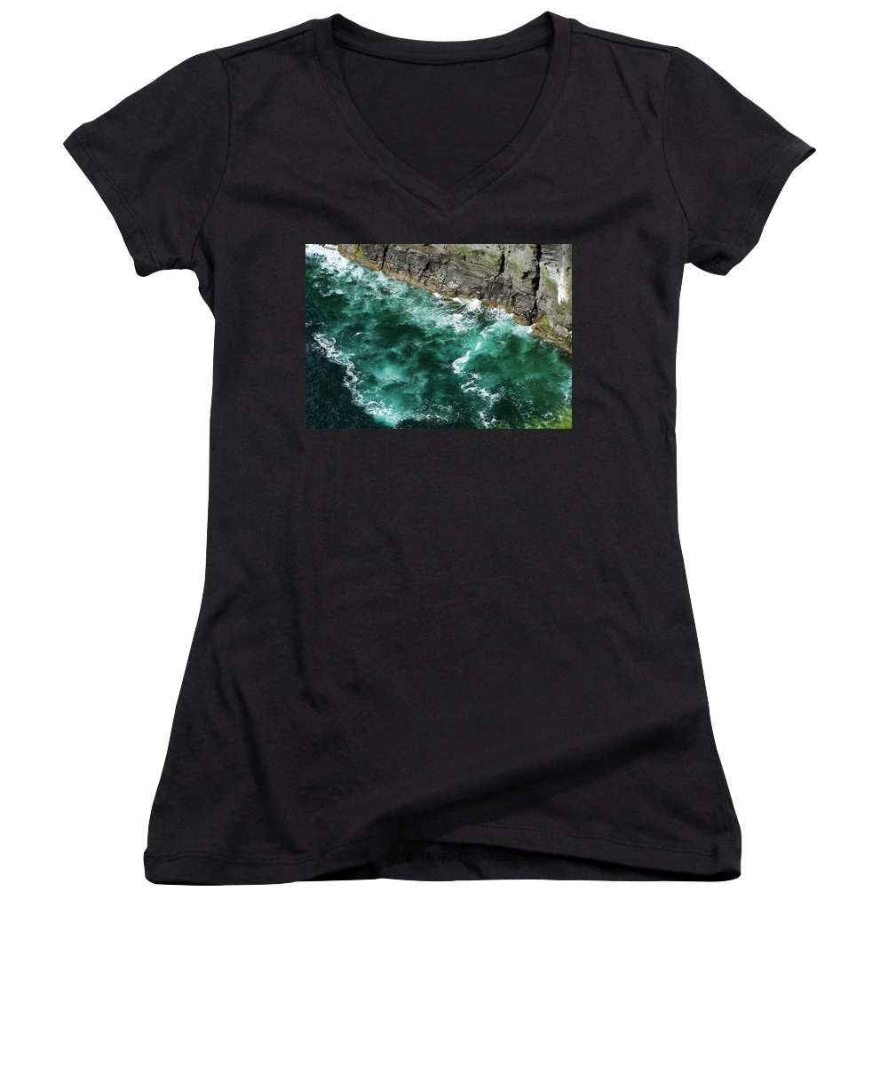 Irish Women's V-Neck (Athletic Fit) featuring the photograph Nowhere To Go Cliffs Of Moher Ireland by Teresa Mucha