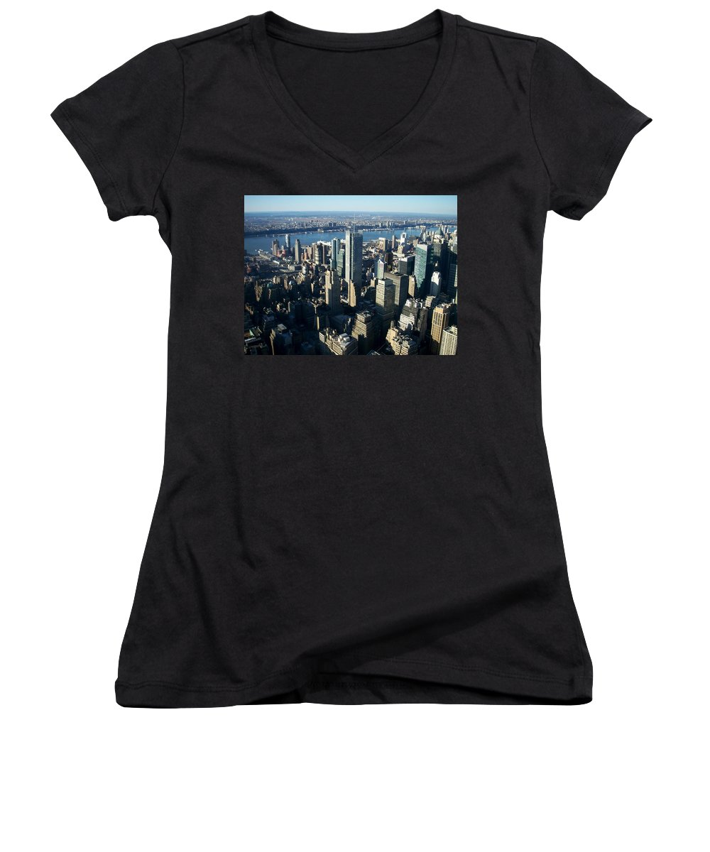Nyc Women's V-Neck T-Shirt featuring the photograph Nyc 1 by Anita Burgermeister
