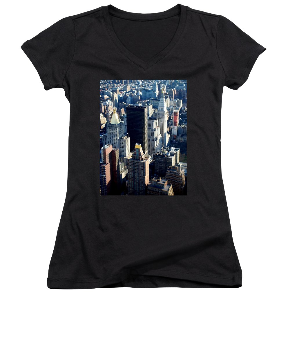 Nyc Women's V-Neck (Athletic Fit) featuring the photograph Nyc 2 by Anita Burgermeister