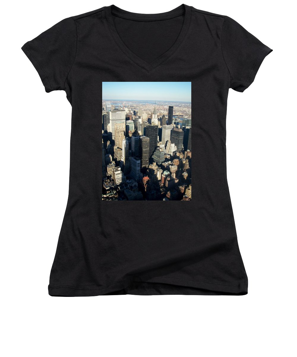 Nyc Women's V-Neck (Athletic Fit) featuring the photograph Nyc 3 by Anita Burgermeister