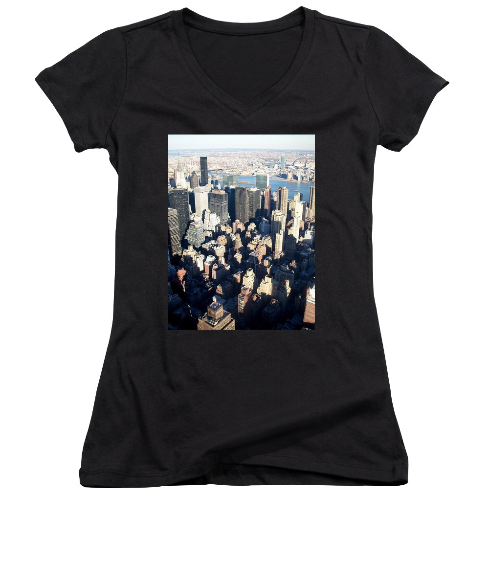 Nyc Women's V-Neck (Athletic Fit) featuring the photograph Nyc 4 by Anita Burgermeister