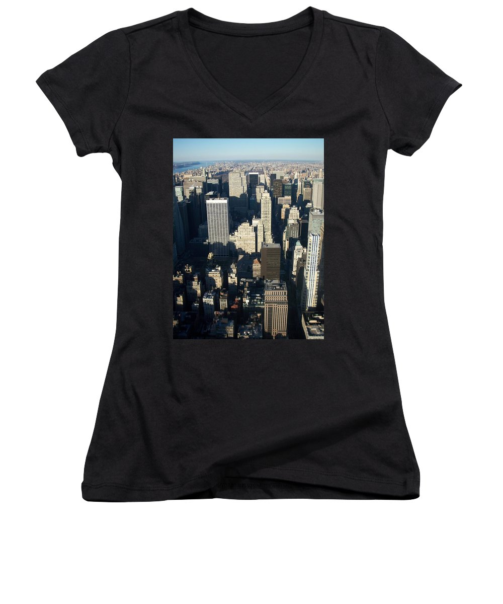Nyc Women's V-Neck (Athletic Fit) featuring the photograph Nyc 5 by Anita Burgermeister