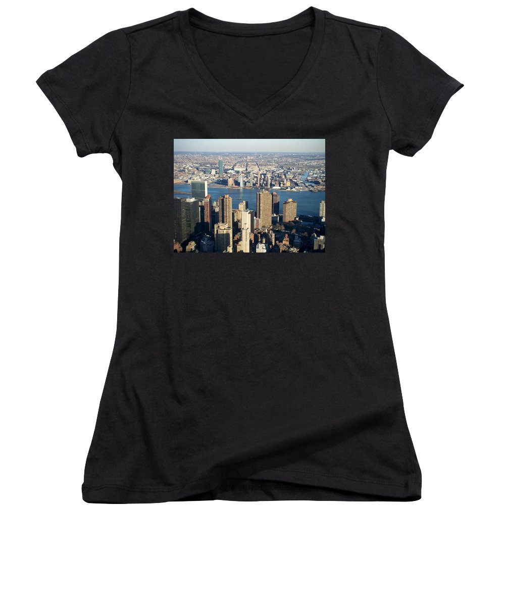 Nyc Women's V-Neck (Athletic Fit) featuring the photograph Nyc 6 by Anita Burgermeister